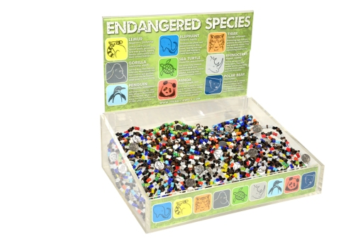 I designed this display for a collection of bracelets that featured icons of endangered species.