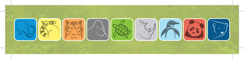 The footer for the display, showing the icon I designed for each animal.