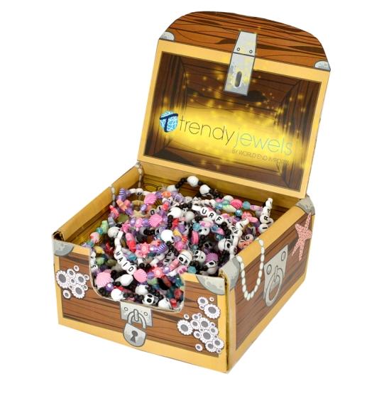 A treasure chest box design for holding sealife-themed bracelets.