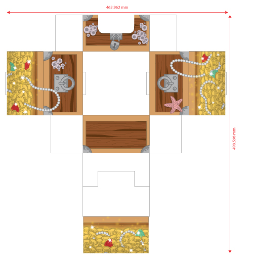 The technical layout of the treasure chest box.